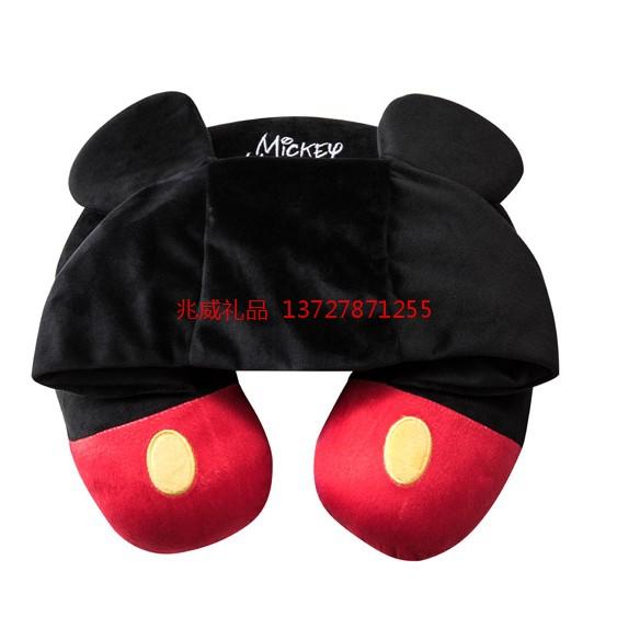 迪士尼 米奇米妮连帽颈枕 U型枕米老鼠护颈枕  儿童节礼物
