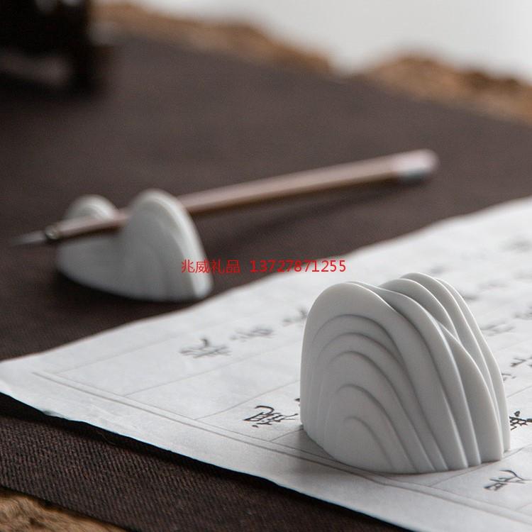 景德镇陶瓷镇纸笔搁笔架 文房文化书法用品